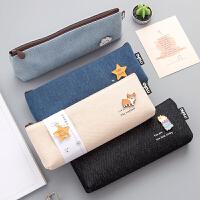 韩版简约大容量笔袋可爱帆布铅笔袋女ins小学生初中高中生文具盒