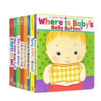 英文原版 Karen Katz 卡伦卡茨经典7本纸板翻翻书套装 Where Is Babys Belly Button 宝宝的肚脐在哪里 3-6岁低幼儿童启蒙绘本
