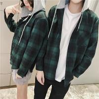 2018男士潮流长袖潮流春装新款韩版格子连帽长袖衬衫休闲宽松