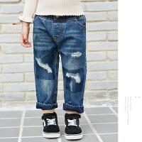 男女童加绒牛仔裤冬季新款 破洞加厚中大童百搭儿童宽松长裤