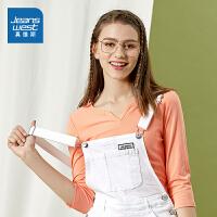 [到手价:25.9元]真维斯女装 春季新品 领口小开叉净色中袖T恤