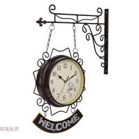 地中海风格welcome铁艺双面挂钟静音家居装饰钟表挂件 10英寸(直径25.5厘米)