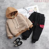 男童冬装套装2018新款韩版儿童洋气卫衣宝宝冬季童装加绒帅气潮衣