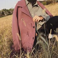 新品韩版男士中长款风衣青少年休闲宽松毛呢大衣学生加厚外套