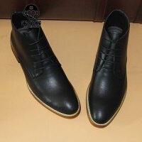 米乐猴 潮牌韩版潮流高帮鞋男鞋子英男士尖头皮鞋内增高发型师鞋休闲鞋伦