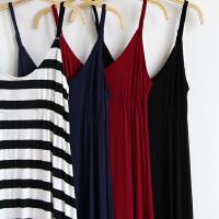 沙滩裙夏长裙大码修身显瘦大摆条纹吊带背心连衣裙拖地裙