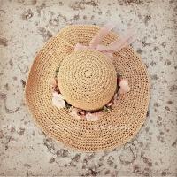 大沿遮阳帽女夏天韩版潮编织花朵蝴蝶结草帽防晒太阳帽沙滩帽 M(56-58cm)