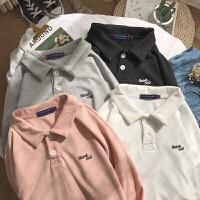 2018春装新款男士卫衣青少年个性翻领宽松纯色印花情侣长袖T恤衫