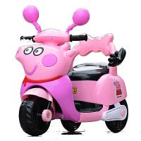 【*品】儿童电动车三轮车摩托车汽车玩具 男女孩子车宝宝童年充电池脚踏车助步车溜溜车 音乐版 小电瓶粉