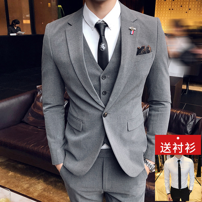 西服套装男士西装三件套韩版修身新郎伴郎结婚礼服绅士商务正装潮 发货周期:一般在付款后2-90天左右发货,具体发货时间请以与客服协商的时间为准