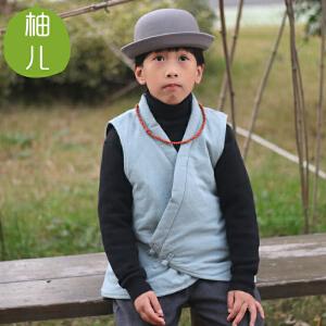 柚儿童装 仿汉服交领马甲棉麻儿童唐装坎肩夹棉背心男童女童冬季