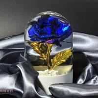 金箔玫瑰水晶球摆件 玫瑰花桌面装饰品 情人节婚庆创意礼品