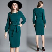 欧美秋冬新款长袖连衣裙灯笼袖修身气质包臀裙系带收腰中长一步裙