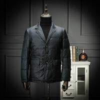 国内单 剪标羽绒服男士西装领便西羽绒外套时尚百搭青年上班工装