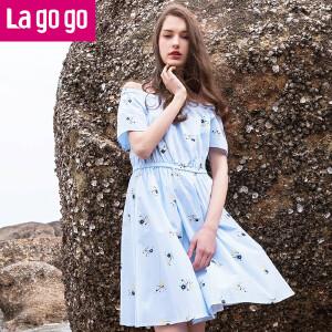 Lagogo2017夏新款韩版显瘦时尚小清新一字领连衣裙女裙裙子