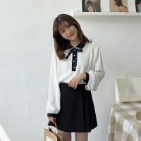 春季女装韩版甜美可爱蝴蝶结系带蕾丝边雪纺长袖打底衫女套头上衣