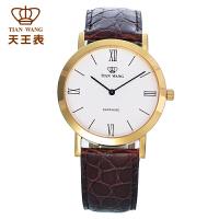 天王表男士手表休闲手表石英皮带简约男表GS3612