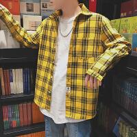2018春季新款经典格纹长袖衬衫男士加肥加大码韩版原宿风宽松衬衣