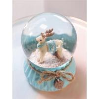 独角兽水晶球摆件木马音乐盒八音盒女生带雪花可发光儿童生日礼物