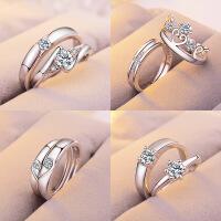 欧美时尚简约开口戒指情侣戒指女锆石镶钻六爪皇冠婚戒