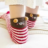 珊瑚绒过膝袜子女冬加厚保暖睡眠袜圣诞毛巾长筒护腿长袜套月子袜
