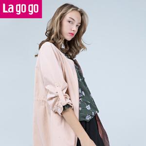 【每满200减100】Lagogo2017春装新款时尚圆领百搭抽绳收腰休闲风衣薄外套女中长款