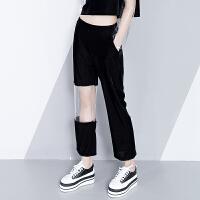 黑色直筒女士休闲裤冬季新款2018女韩版高腰丝绒透明拼接九分裤子 黑色