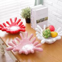 创意陶瓷果盘摆件零食盘 装饰手掌水果盘干果烧烤盘