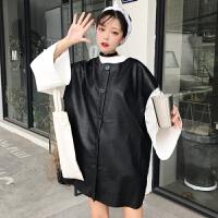 2018新款套装韩版宽松中长款长袖T恤女打底衫+pu皮马甲两件套学生