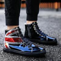DAZED CONFUSED 潮牌秋季黑色百搭高帮板鞋个性夜店漆皮短靴男系带休闲鞋