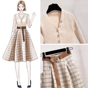 安妮纯chic港味初春季套装女春装2020新款时尚针织衫毛衣裙子成熟两件套