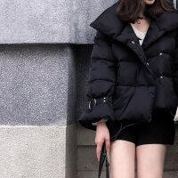 羽绒服女短款2018冬韩版小个子宽松时尚喇叭袖小款白鸭绒外套