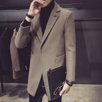 新款秋冬呢大衣男中长款英伦修身毛呢外套西装领夹克男装休闲妮子