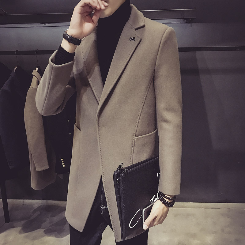 新款秋冬呢大衣男中长款英伦修身毛呢外套西装领夹克男装休闲妮子 发货周期:一般在付款后2-90天左右发货,具体发货时间请以与客服协商的时间为准