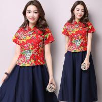 中国风新款民族风女装夏装棉花布上衣短袖改良唐装女短款上衣