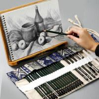 博格利诺马利马可铅笔素描套装初学者炭笔2B笔帘套装临摹学生用专业美术工具绘画用品全套成人手绘素描画画笔