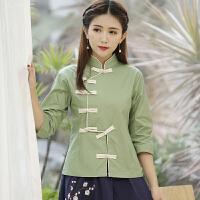 春夏新款复古唐装上衣盘扣立领中式短外套民族风全棉女装