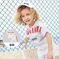 【3.5折价:55.65】迷你巴拉巴拉儿童短袖两件套衣服2018新款夏季纯棉男童运动套装