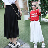 中大女童雪纺裙半身裙长裙夏季儿童纯色百褶裙童装