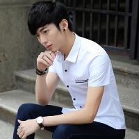 新款2018男士T恤夏季夏休闲男士衬衫韩版修身白色衬衣青年英潮流