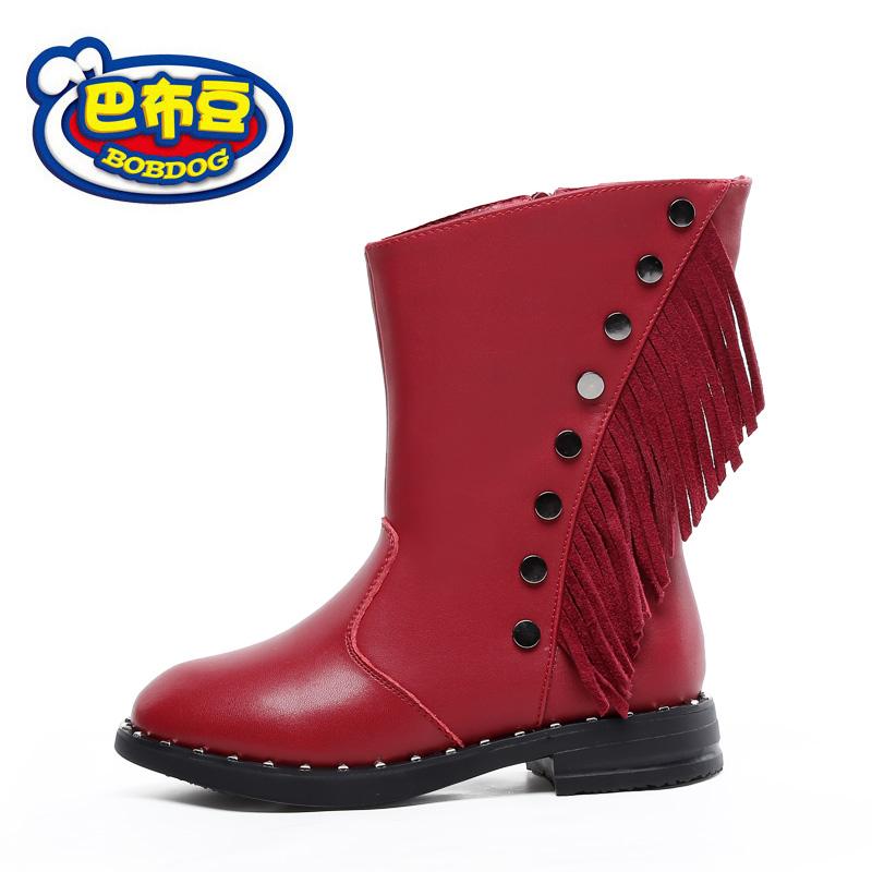 巴布豆童鞋 女童靴子2016冬季新款流苏靴公主童靴真皮女童短靴潮冬季新款