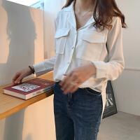 韩版新款雪纺衬衫女春夏百搭宽松西装领白色长袖衬衣学院风上衣潮