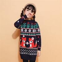 2018冬季新款拉夏贝尔女童毛衣中长款保暖儿童针织衫卡通条纹图案