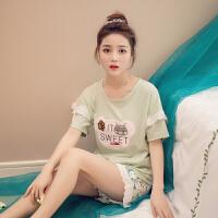 睡衣女夏季纯棉短袖短裤韩版宽松卡通全棉夏天学生套装女士家居服