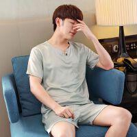夏季男士仿仿 睡衣丝绸短袖短裤薄款大码宽松韩版家居服套装