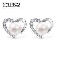 T400爱心天然淡水珍珠银耳钉时尚潮流情人节生日* 81090