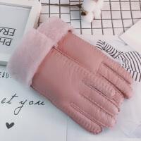 手套女冬季加厚保暖防风寒骑车滑雪羊毛学生韩版
