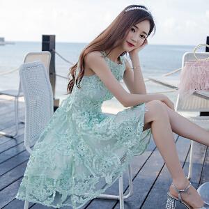 安妮纯夏装2019新款温柔仙女裙子韩版收腰无袖蕾丝连衣裙女士春季潮