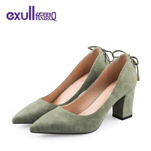 依思q新款单鞋后跟系带粗高跟鞋优雅尖头女鞋
