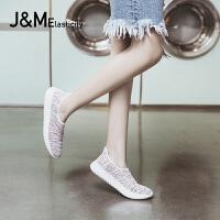 jm快乐玛丽2018夏季新款透气镂空运动鞋平底套脚舒适女鞋子78155W